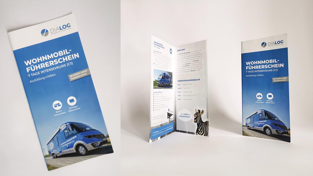 Dialog - Flyer Wohnmobil Führerschein - Referenz - Zweyloeven Werbeproduktion GmbH