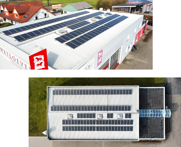 Nachhaltigkeit – Photovoltaikanlage – Zweyloeven Werbeproduktion GmbH
